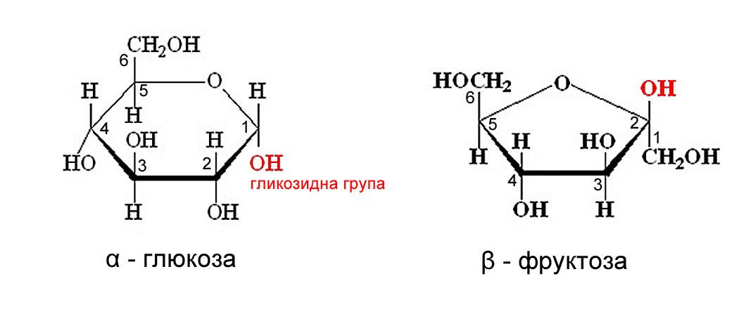 Циклични форми на алфа глюкоза и бета фруктоза