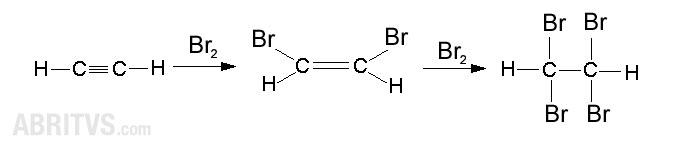 бромиране - присъединителна реакция за алкини