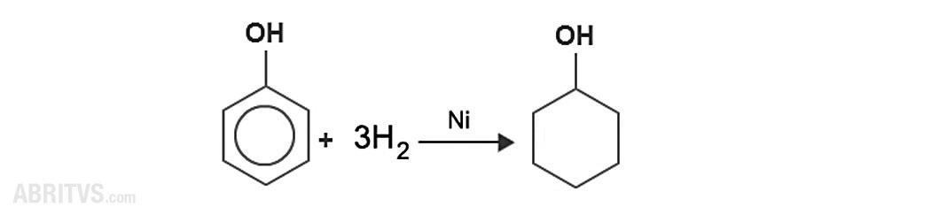 присъединяване на водород към бензеновото ядро на фенол