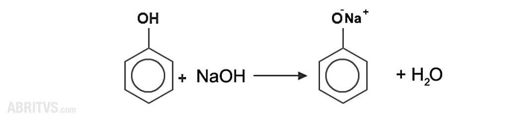 взаимодействие на хидроксилната група с алкални основи