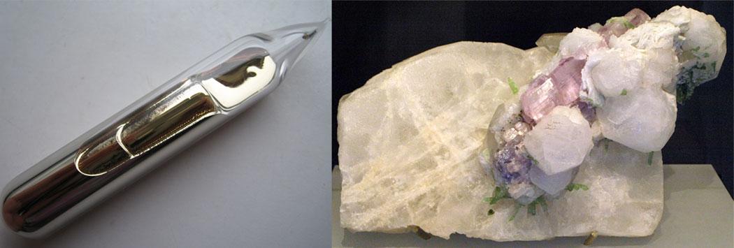 метален цезий в ампула и минерала полуцит - IА група