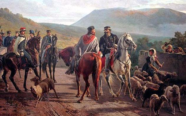 Джузепе Гарибалди и Виктор Емануил II обединението на Италия