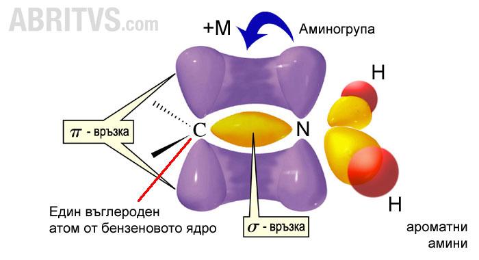 положителен мезомерен ефект в аминогрупата на анилин