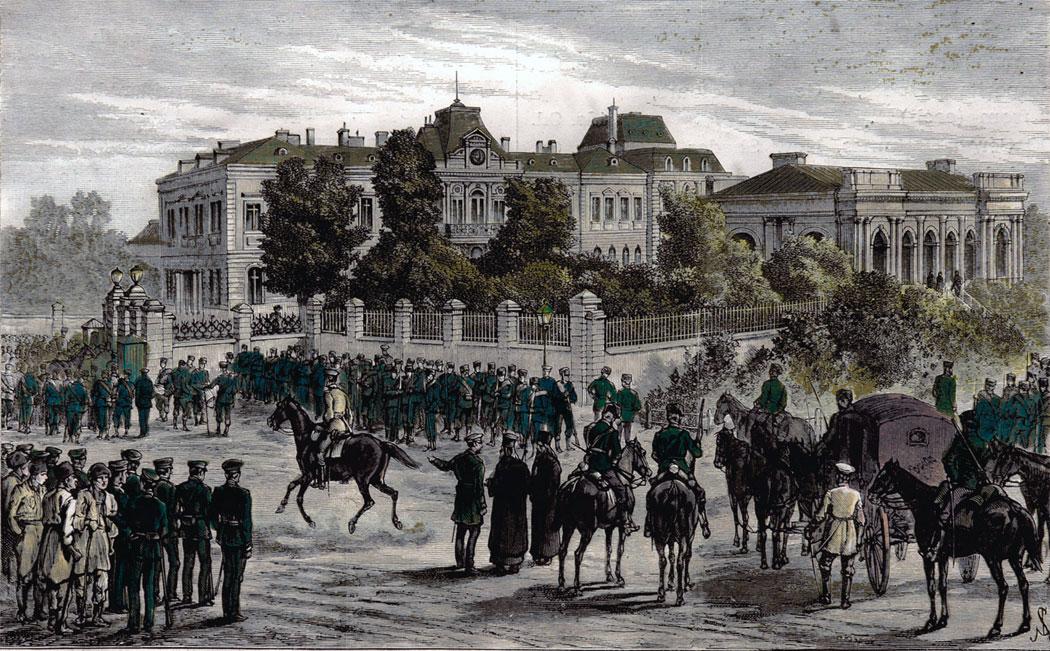 превратът срещу княз Александър Батенберг - войскови части обграждат княжеския дворец