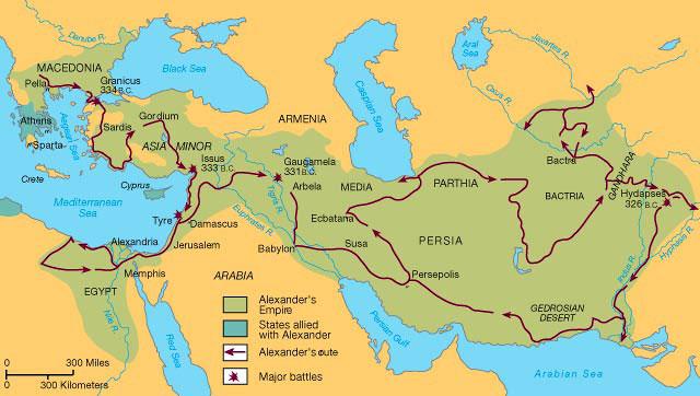 карта на македонските походи