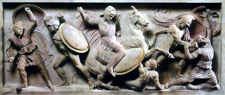 релеф от саркофага на Александър Македонски